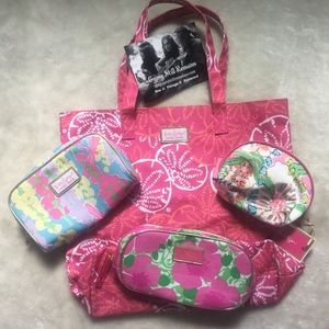 Lilly Pulitzer Lot Tote and 3 Cosmetics Bags.